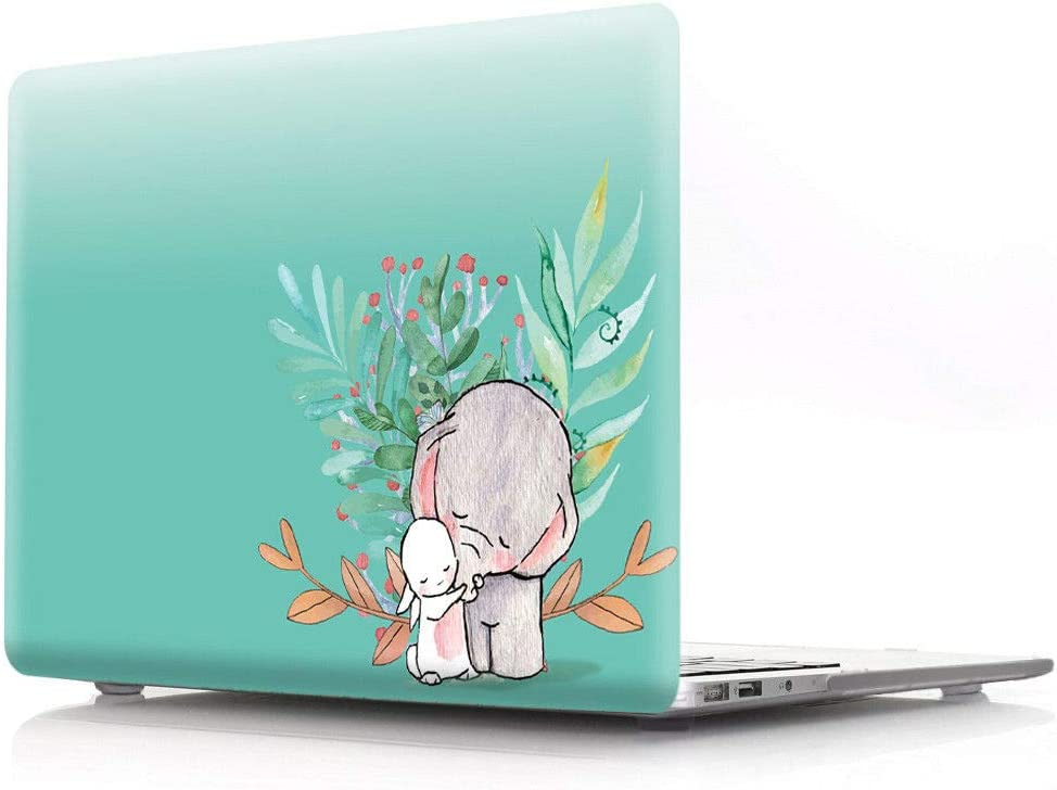 """HRH Cute Elephant Green Design Laptop Body Shell Protective PC Hard Case for MacBook 12"""" with Retina Display A1534 (2015 Release)&A1931(2018 Release)"""