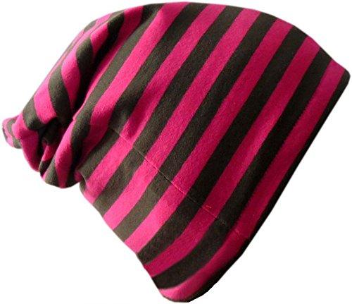 Beanie gorro rayas/EN 7Tamaños Designs/Niños y Adultos Pink-Grau