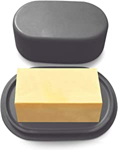 Modern Bamboo Dark Grey Butter Dish with Lid - Dishwasher Safe - Perfectly Sized For Large European Style Butters