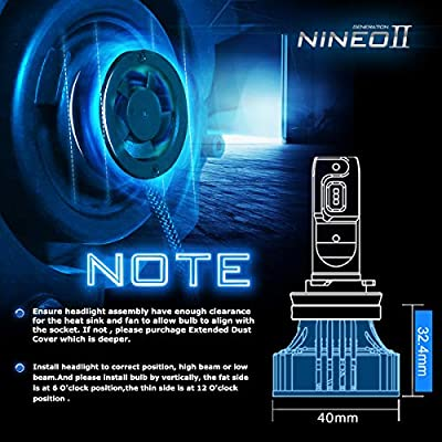 NINEO H7 LED Headlight Bulbs | CREE Chips 12000Lm 6500K Extremely Bright All-in-One Conversion Kit | 360 Degree Adjustable Beam Angle: Automotive