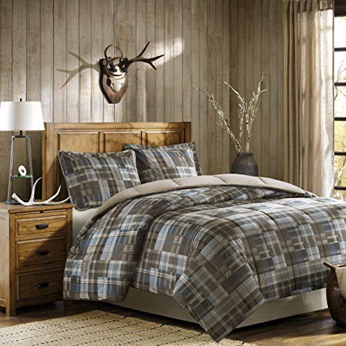 Woolrich White River Full/Queen Size Bed Comforter Set - Grey Blue, Plaid - 3 Pieces Bedding Sets - Ultra Soft Microfiber Bedroom Comforters (And Sets Full Brown Blue Comforter)