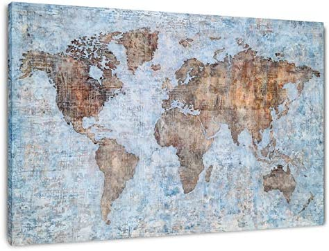 Yihui Arts World Map Wall Art Poster Hand Painted On Canvas Modern Abstract Large Painting Pictures Framed