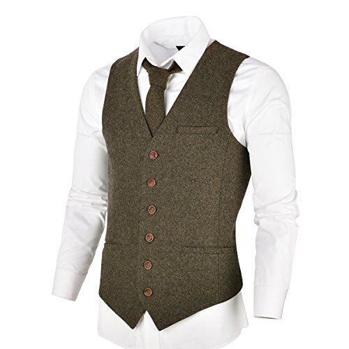 (VOBOOM Men's Slim Fit Herringbone Tweed Suits Vest Premium Wool Blend Waistcoat (Khaki, L))