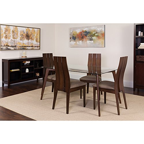Flash Furniture Hawthorne 5 Piece Espresso Wood Dining Table Set with Glass Top and Wide Slat Back Wood Dining Chairs - Padded Seats Clear/Espresso/Beechwood (Piece 5 Slat Back)