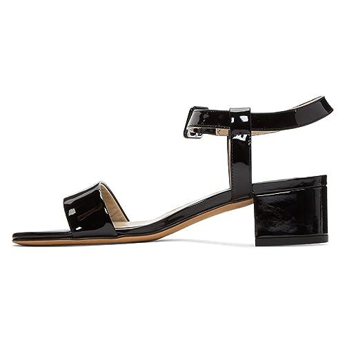 ad22b178bef Amazon.com   XYD Women Open Toe Strappy Patent Sandals Low Block ...