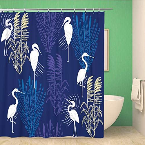 Awowee Bathroom Shower Curtain Pattern Herons and Marsh Plants Orange Red Coastal Lake Polyester Fabric 72x78 inches Waterproof Bath Curtain Set with Hooks