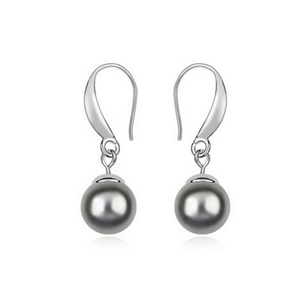 Alvdis One Pair Pearl Style Cultured Pearl Fashion Ear Ring Earring Black QS-Earring-111-13099-Black