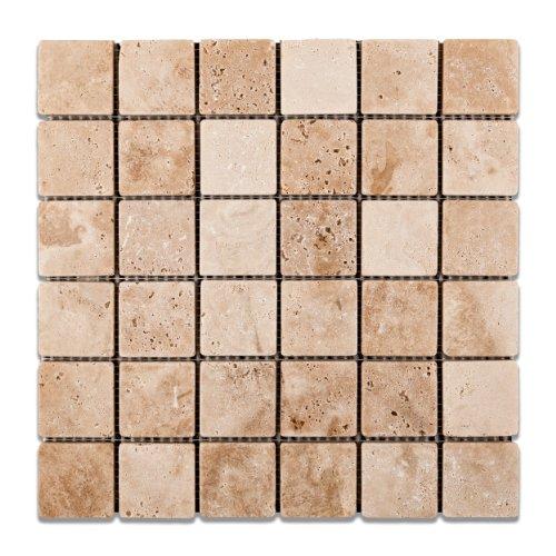 "UPC 737104051347, Andean Vanilla Peruvian Travertine 2 X 2 Tumbled Mosaic Tile - 6"" X 6"" Sample"