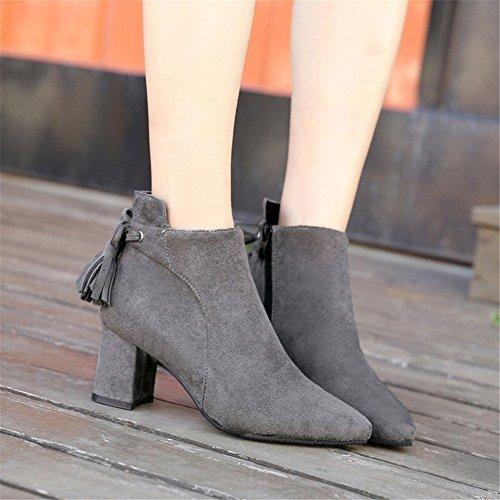 Boots Boots Short Eu DIDIDD Zipper Heel Lace 36 Ladies Bare Tassels Pointed 7EqSgz