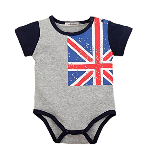 StylesILove Country Flag Short Sleeve Baby Costume Jumpsuit (70/3-6 Months, British Flag)