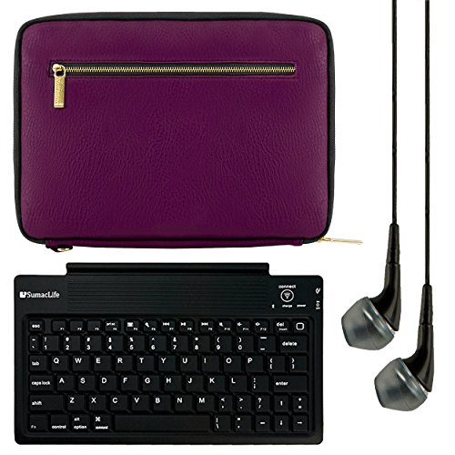 VanGoddy Irista Carrying Sleeve for Fire 7, Fire HD 6, Fire HD 8, 6 to 8 inch Tablets with Bluetooth Keyboard & Black Headphones, Purple & Black by Vangoddy