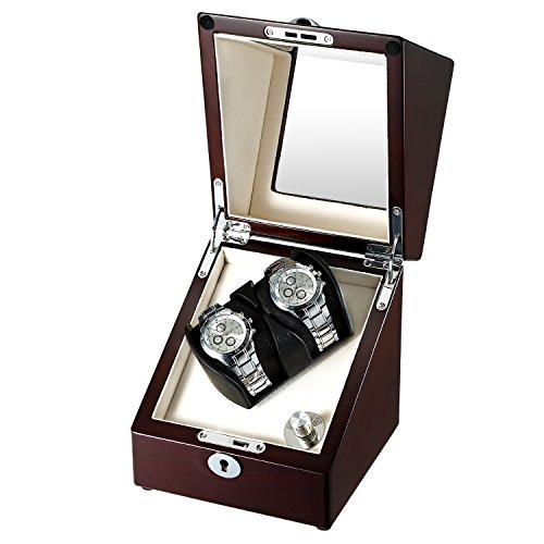 OLYMBROS Wooden Single Automatic Watch Winder Storage Box for 2 Watches with LED Light by Olymbros (Image #7)