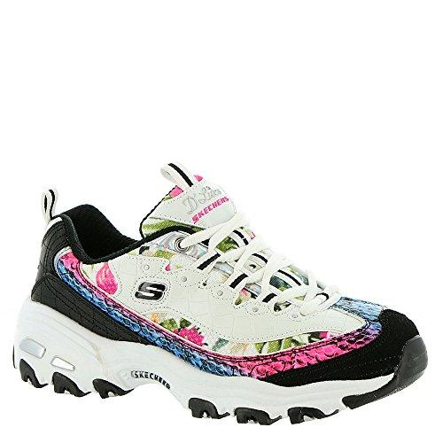 Overlay Croco - Skechers Women's D'Lites - Runway Ready, Sneaker, White/Black/Multi, 8.5 US M