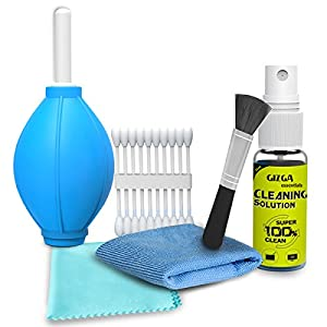 Gizga Essentials GZ-CK-104 Professional 6-in-1 Cleaning Kit (Air Blower, Cotton Swabs, Suede + Plush Micro-Fiber Cloth, Brush,Cleaning Solution)