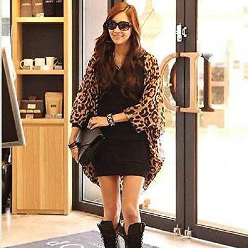 Superfs Women Leopard Print Batwing Sleeve Chiffon Cardigan Shirt Tops Blouse