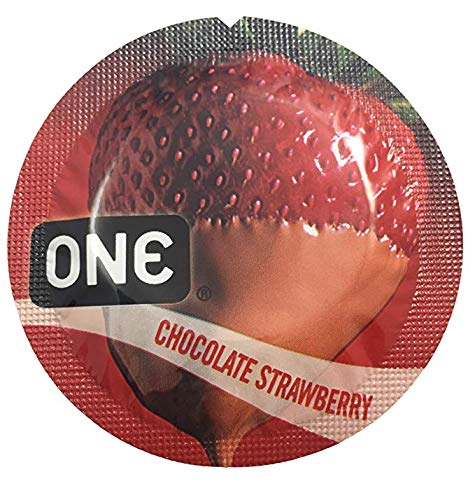 ONE Chocolate Strawberry Flavored Lubricated Latex Condoms with Silver Pocket/Travel Case-24 -