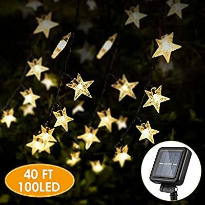"KeShi 40FT 100LED Solar Star String Lights, 8 Modes Solar Powered Twinkle Fairy Lights, Waterproof Star Twinkle Lights for Outdoor, Gardens, Lawn Patio, Landscape, Xmas, Holiday (Warm White) - ⭐【 ENERGY SAVING SOLAR STAR LIGHTS 】: No wire & No electricity fee & No outlets. Just place the solar panel under the sunlight to charge. Upgraded solar panel: light up to 8-12 hours after fully charge. Note: Please place the front side of the solar panel in direct sunlight to ensure that it receives sufficient solar energy. 🌟【 LIGHT SENSOR 】: Just put the solar string lights outdoor, in where can get direct sunshine and keep the switch ""ON""--It will automatically recharge during the daytime and light turns on automatically when dark. KESHI solar string lights will create more romance for you! 💝【 UPGREADE HIGH EFFICIENT 】: 100 LED star and 8 working modes solar patio lights, IP65 waterproof starry Light . Longer battery life, more stars, longer solar rope lights 40 FT. Ambiance lights for anywhere use. - patio, outdoor-lights, outdoor-decor - 51I%2B67LLJ7L. SS400  -"