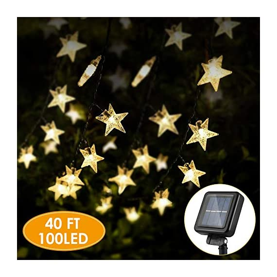 "Solar Star String Lights 40FT 100LED, KeShi 8 Modes Solar Powered Twinkle Fairy Lights, Waterproof Star Twinkle Lights for Outdoor, Gardens, Lawn Patio, Landscape, Xmas, Holiday (Warm White) - ⭐【 ENERGY SAVING SOLAR STAR LIGHTS 】: No wire & No electricity fee & No outlets. Just place the solar panel under the sunlight to charge. Upgraded solar panel: light up to 8-12 hours after fully charge. Note: When winter comes, there may be insufficient energy in the light string due to insufficient sunlight, please place the front side of the solar panel in direct sunlight to ensure that it receives sufficient solar energy. 🌟【SAFE AND CONVENIENT 】: Just put the solar string lights outdoor, in where can get direct sunshine and keep the switch ""ON""--It will automatically recharge during the daytime and light turns on automatically when dark. Note: Due to the low initial energy, it may initially only provide you with 1-2 hours of lighting, which is normal. Please keep the switch button on when receiving solar energy, and make sure there are no obstacles on the front of the solar panel. 💝【 UPGREADE HIGH EFFICIENT 】: 100 LED star and 8 working modes solar patio lights, IP65 waterproof starry Light . Longer battery life, more stars, longer solar rope lights 40 FT. Ambiance lights for anywhere use. - patio, outdoor-lights, outdoor-decor - 51I%2B67LLJ7L. SS570  -"
