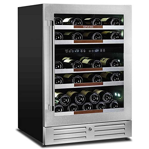 Sipmore Wine Cooler Refrigerator 24 Dual Zone 37 Multi Sized Bottle Built-in or Freestanding with Seamless Stainless Steel and Smart Temperature Memory System with Stage LED Design