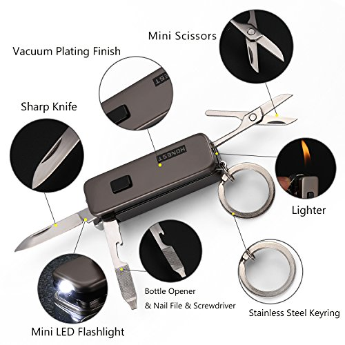 Key Chain Flashlights with Bright LED Light, Flame Lighter, Sharp Knife, Bottle Opener, Nail File and Mini Scissors - coolthings.us