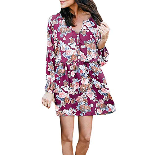 iHPH7 Women Casual Floral Printed Button Long Sleeve