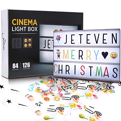 Jeteven Cinema Light Colors Box Colorful Letters Emojis LED for Home Decor Wedding Birthday Parties (White Light) (Girl Tween Gift Ideas Birthday)