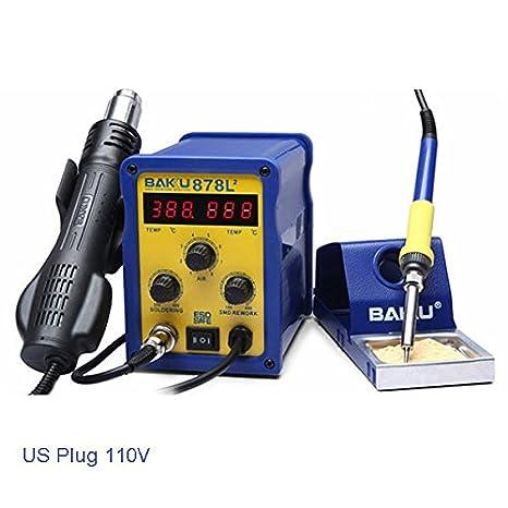 Calli BAKU BK-878l2 700w 110v enchufe de los EEUU 2 en 1 retrabajo estación de soldadura de hierro y pistola de aire caliente: Amazon.es: Electrónica