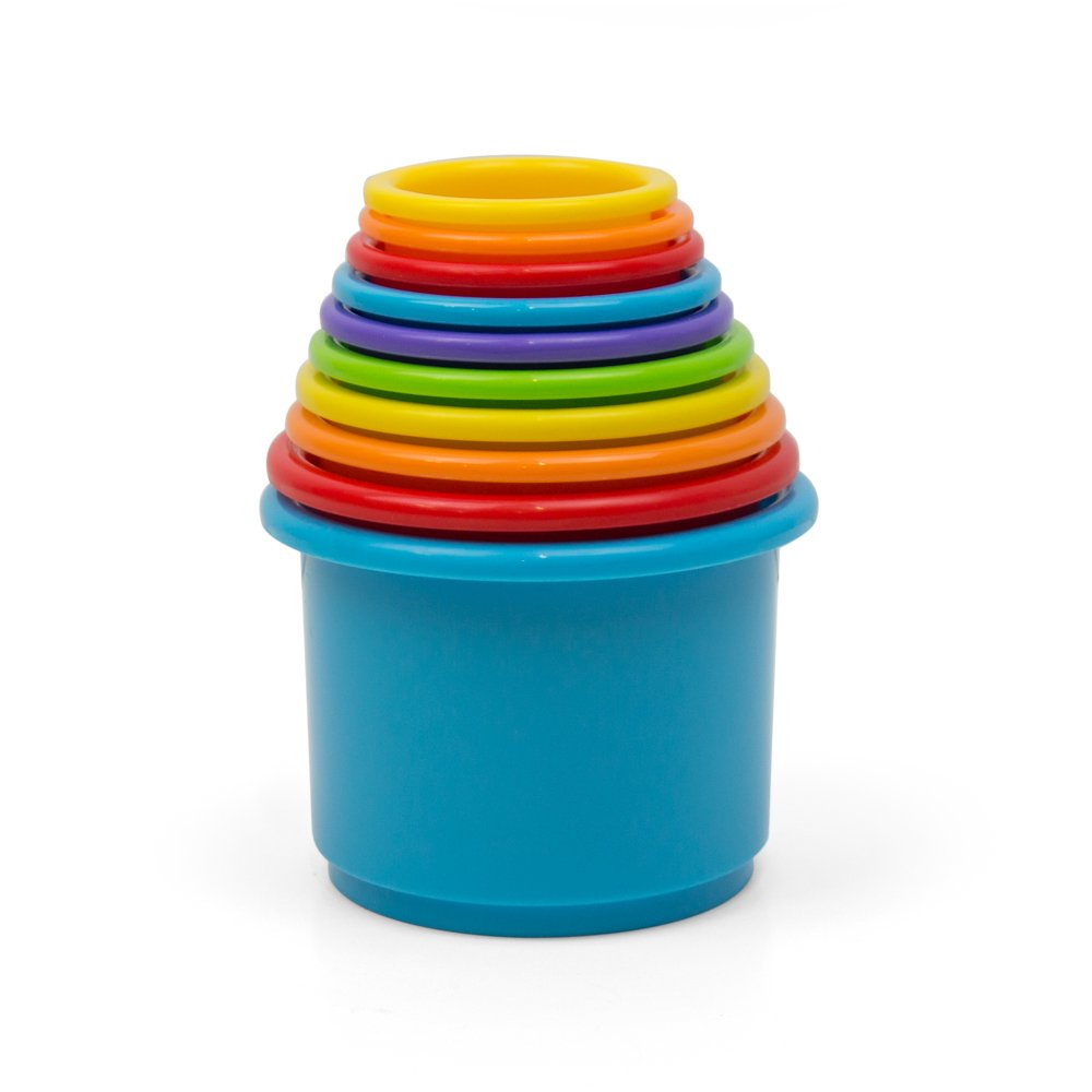 Kidsthrill Rainbow Stacking & Nesting Cups Baby Building Set |10 Pieces | Embossed Animal Characters |Indoor, Outdoor, Bathtub, and Beach Fun Toy Multi Colored by Kidsthrill (Image #2)