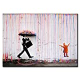 DINGDONGART Colorful Rain Wall Art Painting Modern Framed Canvas Poster Picture for Living Room Wall Decor 1 Pcs