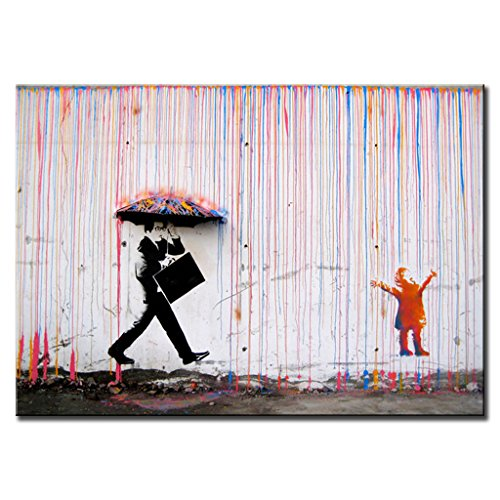 DINGDONGART- Colorful Rain Wall Art Painting Modern Framed Canvas Poster Picture for Living Room Wall Decor 1 Pcs