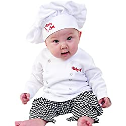 Baby Aspen Baby Chef 3 Piece Layette in Culinary Gift Box, White, 0-6 Months