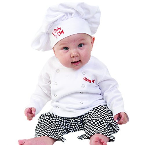 Baby Aspen Baby Chef 3 Piece Layette in Culinary Gift Box, White, 0-6 -