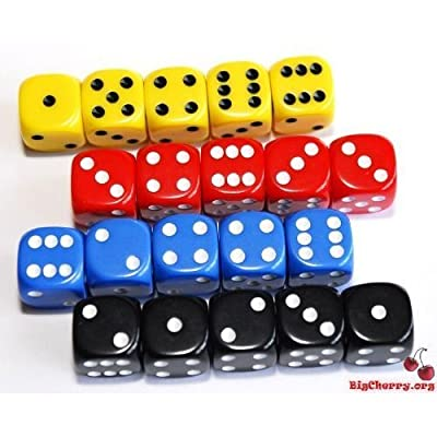 5 Dice x 4 Colours 16mm Dice Set - 4 Players for Poker Dice, Yahtzee, Yacht, Generala, Balut etc. by Forlorn Hope Games