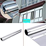 HOHO Silver Mirror One Way Silver Window Film Privacy Security Tint Sticker 60''x98ft