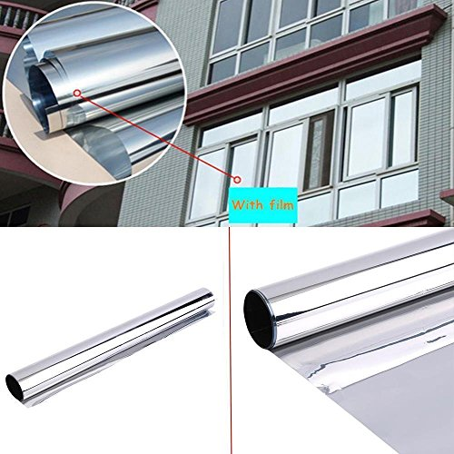 HOHO Mirror Silver Solar Reflective Window Film One Way Vision Privacy Tint for Home Office Store Glass,60''x98ft Roll by HOHO