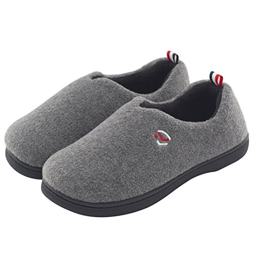 Women's Comfort Polar Fleece Slip on Slippers Color Block Memory Foam House Loafers Shoes w/ Indoor, Outdoor Sole