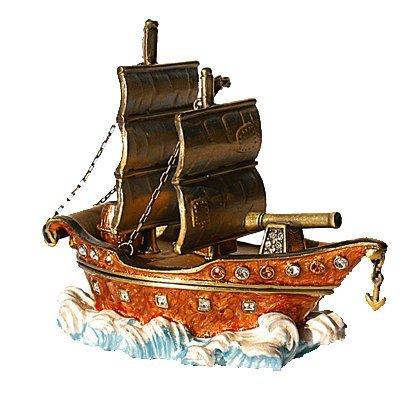 Pirate Ship Boat Box Swarovski Crystals Sailboat Jewelry Trinket Clipper Figurine