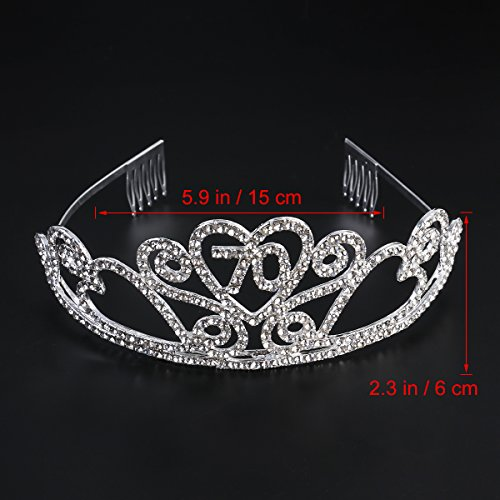 Frcolor Birthday Crowns Rhinestone Birthday Party Tiara with Hair Combs for Mother's 70th Birthday Party by Frcolor (Image #1)