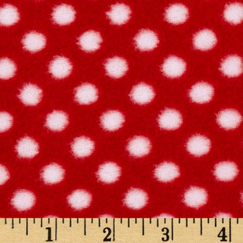 Fleece Polka Dot Red/White Fabric By The Yard