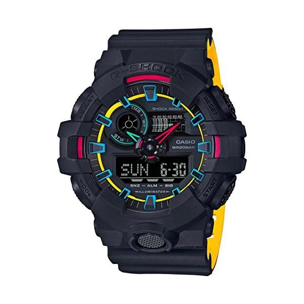 51I%2B8ThHunL. SS600  - Casio G-Shock GA700SE-1A4 53.4mm Resin Men's Watch (Matte Black/Yellow)