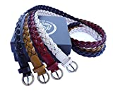 Set of 4 Colored Women's Fine Bonded Leather Thin Braided Belts XS-M (95cm - Waist Size 26''-33'')