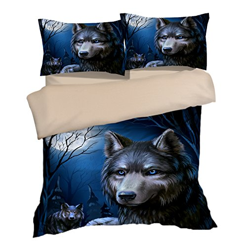 Amazing Moon Wolf Cotton Microfiber 3pc 80''x90'' Bedding Quilt Duvet Cover Sets 2 Pillow Cases Full Size by DIY Duvetcover
