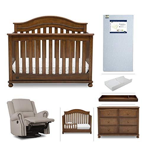Bed Chestnut Set - Nursery Furniture Set - 7-Piece | Convertible Crib, Dresser, Recliner Glider, Crib Mattress, Toddler Rail, Changing Top, Changing Pad, Simmons Kids Bristol - Antique Chestnut Brown/Flax