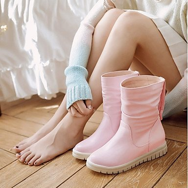 For Dot Winter Booties Heel Casual Ankle Office amp; Women's Wedge Leatherette Boots Polka Toe Shoes Career Spring Fashion Round Boots White Boots pnZaPq