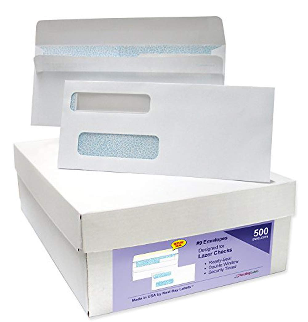 #9 Ready-Seal Double Window Security Tinted Check Envelopes, Compatible for QuickBooks Checks, Sage 100 Program, Blackbaud Software ETC, Box of 500 by Next Day Labels