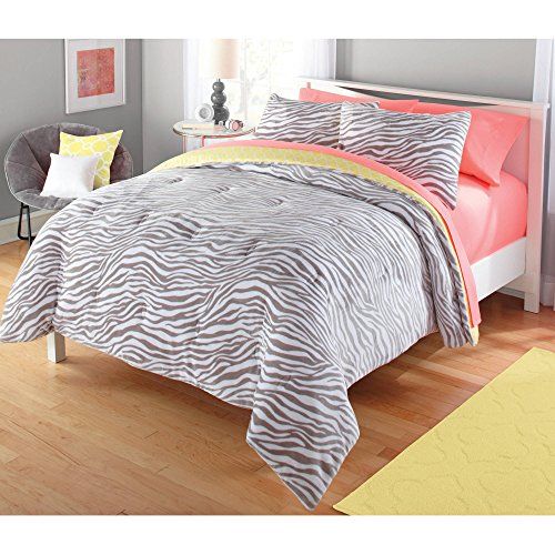 Your Zone 3-Piece Ultra-soft Plush Gray REVERSIBLE Comforter $ Shams Set (Gray and Yellow Zebra, Queen)