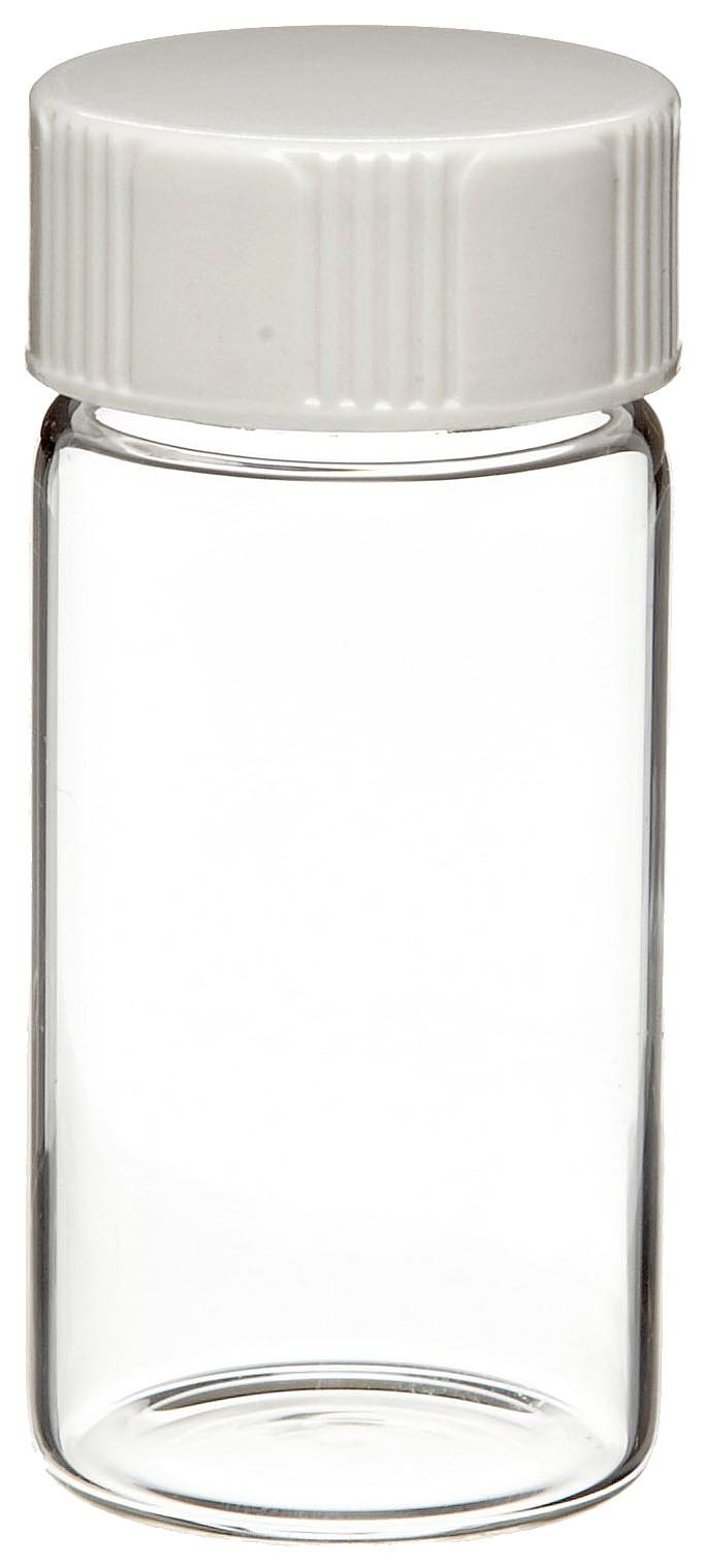 Wheaton 986568 Borosilicate Glass 20mL Liquid Scintillation Vial, with 24-400 White Urea Polyethylene Disc Lined Screw Cap Attached