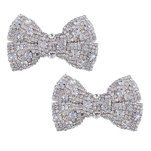 Rhinestone Buckle Bow (Stuffwholesale Bow Knot Shoes Clip High Heel Shoe Buckle Fabric Shoe Decoration (New style#5))