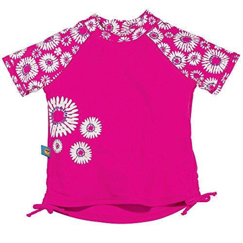- Sun Smarties UPF 50+ Short Sleeve Daisy Rash Guard Bathing Suit Top 3T Hot Pink