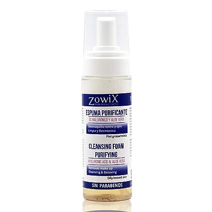 Zowix Desmaquillante ojos, cara y cuello. Limpiador facial en espuma para pieles MUY Grasas
